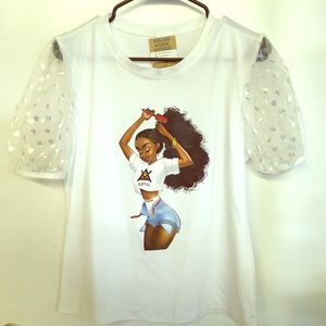 Afro Girl T with puff sleeves